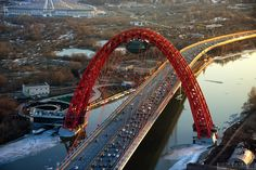 Zhivopisny bridge, Moscow, Russia Picturesque Bridge by Sergey Alimov Love Bridge, Arch Bridge, Bridge Design, Pedestrian Bridge, Ouvrages D'art, Moscow Russia, Covered Bridges, Civil Engineering, Countries Of The World