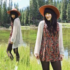 Forever 21 Paisley Dress, Brandy Melville Usa Knit Cardigan, Free People Matador Hat