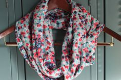 LOVE! Multi-colored Floral Infinity Scarf. $18.00, via Etsy.