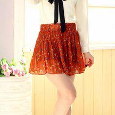 Tokyo Fashion  Floral Print Pleated Chiffon Skirt