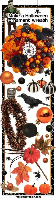 erika makes a fabulous halloween wreath using our christmas ornament wreath tutorial - Halloween Christmas Ornaments