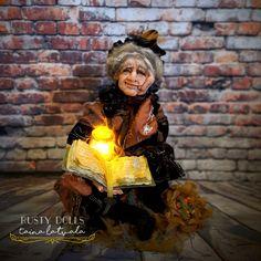 Witch - Art Doll - Fantasy Doll - Polymer Clay Doll - Witch Art Doll - Handmade - Doll - Fantasy - Whimsical - OOAK Doll - Witch Doll - by RustyDolls on Etsy Polymer Clay Dolls, Witch Art, Creative Artwork, Hand Shapes, Fairy Dolls, Ooak Dolls, Shades Of Black, Whimsical, Art Pieces