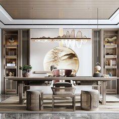 Office Interior Design, Luxury Interior Design, Office Interiors, Modern Chinese Interior, Asian Interior, Luxury Office, Home Decor Hacks, Decoration, Chinese Tea Room