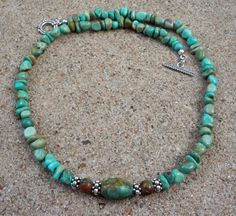 Genuine ALL Natural 18 Inch Campo Frio Mine Turquoise Necklace by EurekaSpringsRocks.  Beautiful stones!!!
