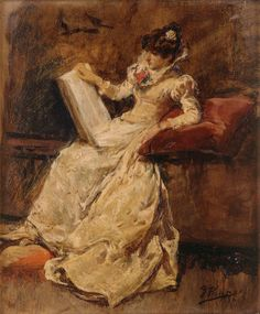 Figura femenina sentada Ignacio Pinazo Camarlench (Spanish, Oil on canvas. When he returned to València in he abandoned the conventional. Books To Read For Women, Spanish Art, Woman Reading, Western Art, Figurative Art, Old World, Female Art, Valencia, Oil On Canvas