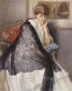 Toussaint, Fernand (b,1873)- Woman w Palm Under Chin