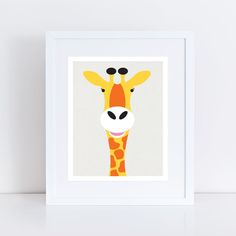 A lovely giraffe print perfect for your little ones safari nursery or wild animal themed room. This original illustration adds a pop of bright fun to any child's room.