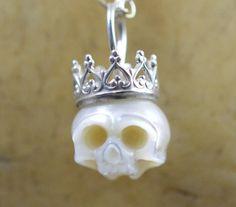 Carved Skull Pearl Wearing Sterling Silver Crown by ArloEdgeWalker