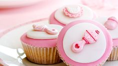 Cupcakes for a baby shower stock photo. Image of girl - 12108678 Baby Cupcake, Cupcake Rosa, Baby Shower Desserts, Baby Shower Party Favors, Baby Shower Cupcakes, Fiesta Baby Shower, Baby Girl Shower Themes, Girl Themes, Fondant Cupcakes