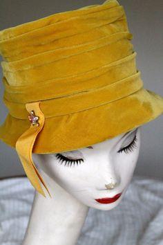 1960s Vintage Gold Velvet Bucket Hat with by ParadiseCityArcade, $45.00