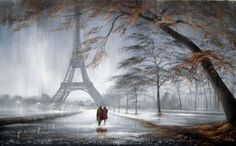 Autumn In Paris(Original) by Jeff Rowland - Paintings & fine art pictures available on discounted prices Pictures To Paint, Art Pictures, Paris In Autumn, Beautiful Landscape Paintings, Paris Painting, Tin Art, Tours France, Abstract Watercolor, Cool Artwork