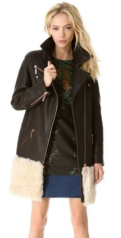 Cedric Charlier Fur & Leather Coat