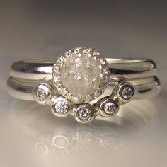 Raw Diamond Engagement Set, White Raw Diamond Ring, Rough Diamond Engagement Ring by artifactum on Etsy https://www.etsy.com/listing/463355445/raw-diamond-engagement-set-white-raw