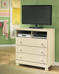 Ashley Cottage Retreat B213-39 Signature Design Media Chest - Media Chest with three drawers and storage for console