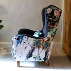 Are you interested in our winged armchair? With our mid century arm chair you need look no further. Wingback Armchair, Chair Upholstery, Upholstered Furniture, Chair Cushions, Sofa Chair, Furniture Chairs, Vintage Armchair, Couch, Blue Armchair