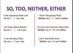 English vocabulary - so, too, either and neither