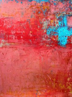 Christian Hetzel... interesting textures achieved and how weighted the electric blue feels against the dusty pink, however, the edges of the canvas still grab your eyes