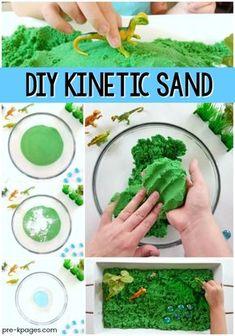 Dinosaur Sensory Bin for Preschool – Pre-K Pages Easy Kinetic Sand Recipe for Preschool Fun Crafts For Kids, Summer Crafts, Toddler Crafts, Projects For Kids, Diy For Kids, Easy Crafts, Toddler Games, Craft Kids, Toddler Snacks