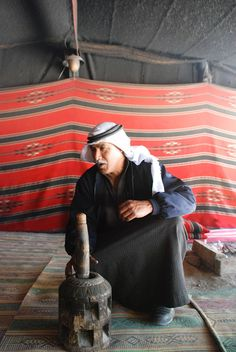 Bedouin coffee in the desert. For the traditional inhabitants of the desert, coffee signifies a bond between guest and host, one molded by the harsh environment surrounding them. Those entering the tent's threshold will be treated generously with the implicit understanding that what is given is a loan. There will come a time when the roles will be reversed.