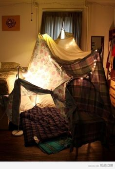 Blanket and pillow fort sleepover Build A Fort, The Good Old Days, Build Your Own, My New Room, Childhood Memories, In This Moment, Pillows, Couch Cushions, Decoration