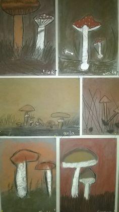 Ruskohiilillä, taululiidulla ja tavallisella piirustushiilellä tehdyt sienityöt…