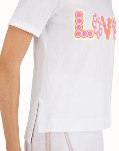 FENDI T-SHIRT - White cotton T-shirt - view 4 detail