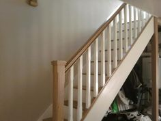 Stairs White Banister, Painted Banister, Stair Banister, White Staircase, Banisters, Stairs, White Carpet, White Oak, White Paints