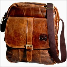 Ultimate R Café Brown Italian Leather Men's Shoulder Bag | RnBJewellery
