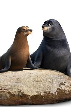 Rudder and Fluke, voiced by Dominic West and Idris Elba Dory Characters, Walt Disney Characters, Dominic West, Idris Elba, Finding Dory, Voice Actor, Savannah Chat, The Voice, Real Life
