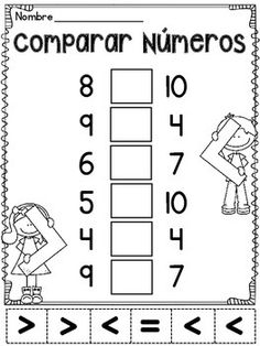 Comparar Numeros: Mayor que, menor que, o igual - 11 Comparing Numbers cutting and pasting worksheets IN SPANISH (Espanol) for practicing greater than, less than, or equal to