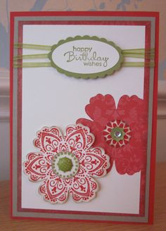 Mixed Bunch Stampin' Up! great use of skinny ribbons. scallop punch