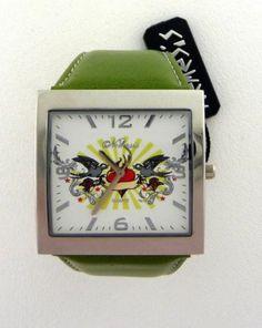 Women's Watch Nemesis Green Band Quartz Wristwatch Tattoo Art Time Piece | eBay