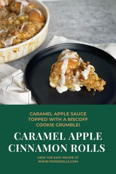 Caramel apple sauce, Rhodes Cinnamon Rolls, and a Biscoff Cookie crumble! So good, perfect way to use your apples!