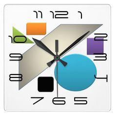 Minimal Geometric Avant-Garde Bright Square Wall Clock - minimal gifts style template diy unique personalize design
