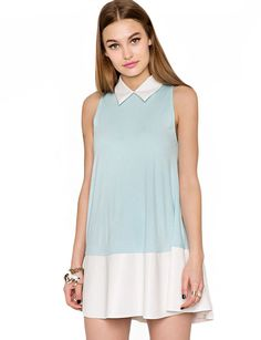 Leather trim Swing dress $68.00 #pixiemarket.com #cutedress #summer
