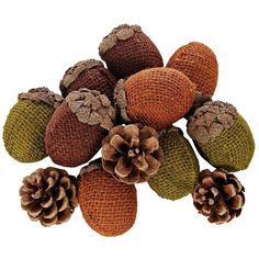 Burlap Acorns and Pine Cones Filler ($9.99) ❤ liked on Polyvore featuring home, home decor, filler, pine cone home decor, rustic home decor, autumn home decor, fall home decor and burlap home decor