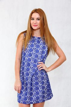 Love Swing Dress With Floral Embroidery : Blue #love #pink #blue #pinktag #pinktagfashion