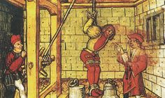 If someone asked you to think of torture devices, you would probably picture some crazy medieval contraption. Medieval World, Medieval Times, Medieval Art, Medieval Books, Renaissance, Medieval Manuscript, Illuminated Manuscript, Maleficarum, Temple