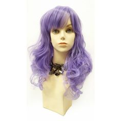 Long 17 Inch Wavy Light Purple Color Wig With Bangs Anime Cosplay... (48,010 KRW) ❤ liked on Polyvore featuring bath & beauty, hair care, silver and wigs
