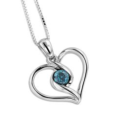 Luxurman 14k Gold 1/6ct TDW Single Blue Diamond Heart Necklace