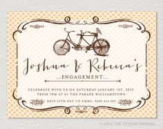 PRINTABLE Tandem Bicycle Invitation for by TheDesignParade on Etsy