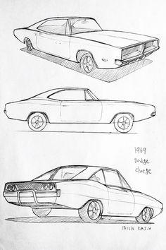 Car drawing 151216 1969 Dodge Charger      Prisma on paper.  Kim.J.H