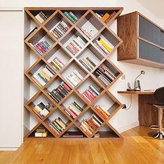 Home storage statements - Real Homes Home Library Design, Home Room Design, Home Interior Design, Creative Bookshelves, Bookshelf Design, Home Decor Furniture, Diy Home Decor, Furniture Design, Bookshelves In Living Room