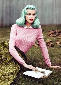 Lara Stone by Mert & Marcus for Vogue US September 2010 but with blue hair! #fashion