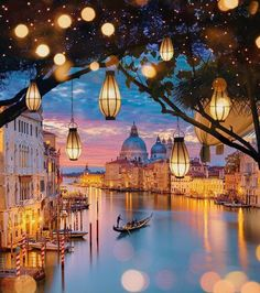 Venice in Italy lights