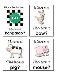 """I Have...Who Has?"" Game {Animal Words} make auf Deutsch"