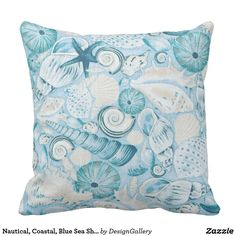 New Nautical Coastal Blue Sea Shells Pillow Case Decorative Cushion Cover