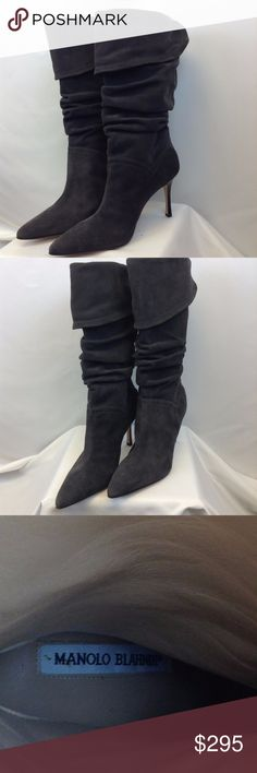 Manolo Blahnik Charcoal Suede Boots Manolo Blahnik Charcoal  Suede Boots Manolo Blahnik Shoes Heeled Boots