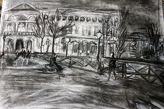 Parisian Bridge 76 X 56 Charcoal
