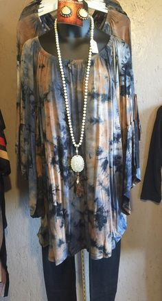 Mocha bell sleeve tie dye tunic... loose fitting and fun! Polyester/spandex. Classy Cowgirl Co- Gypsy Cowgirl ,Fun & Funky Western clothing, jewelry, &